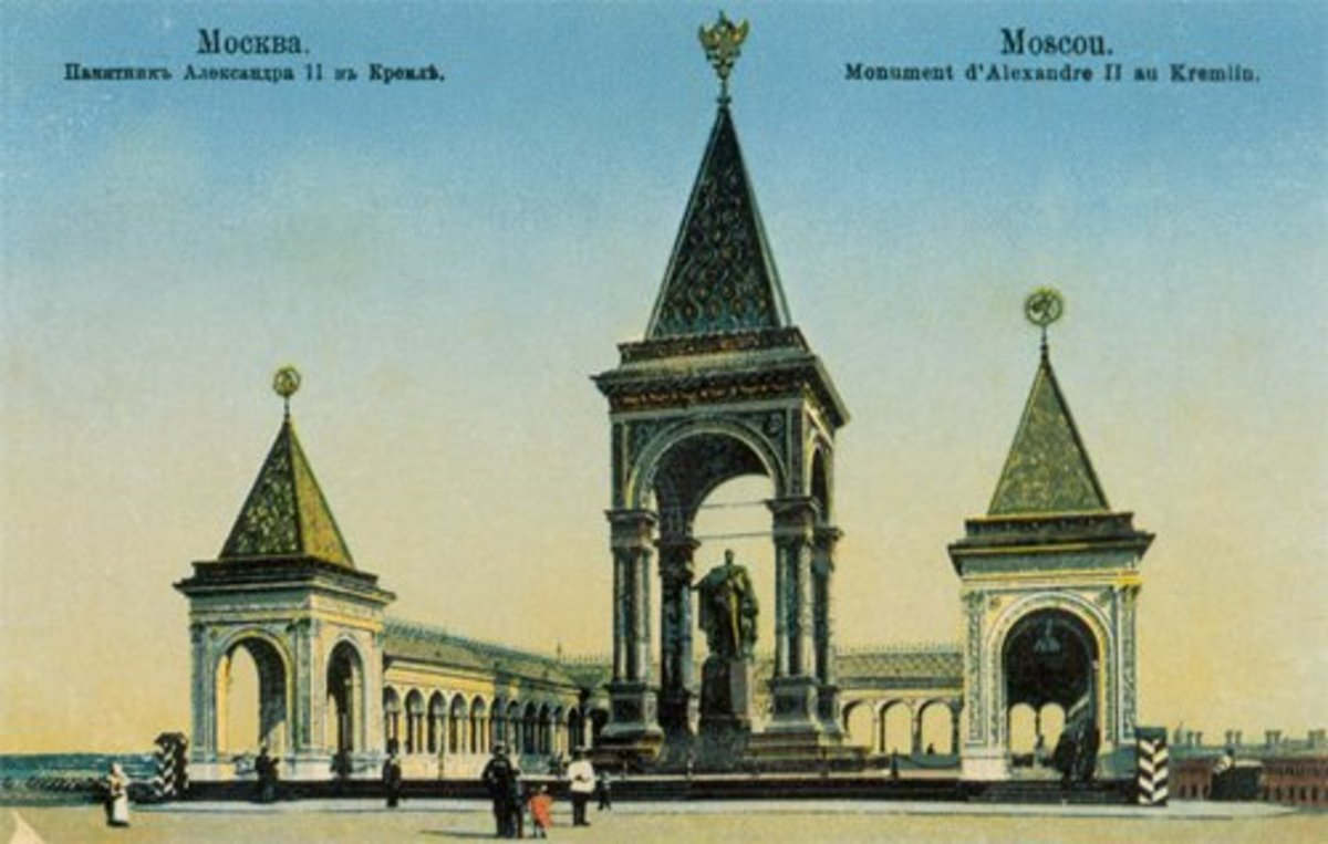 Postcard Photo of the original monument to Alexander II-- for his granting freedom to the serfs-- this was destroyed in 1918-1920 by the Bolshevik Government.