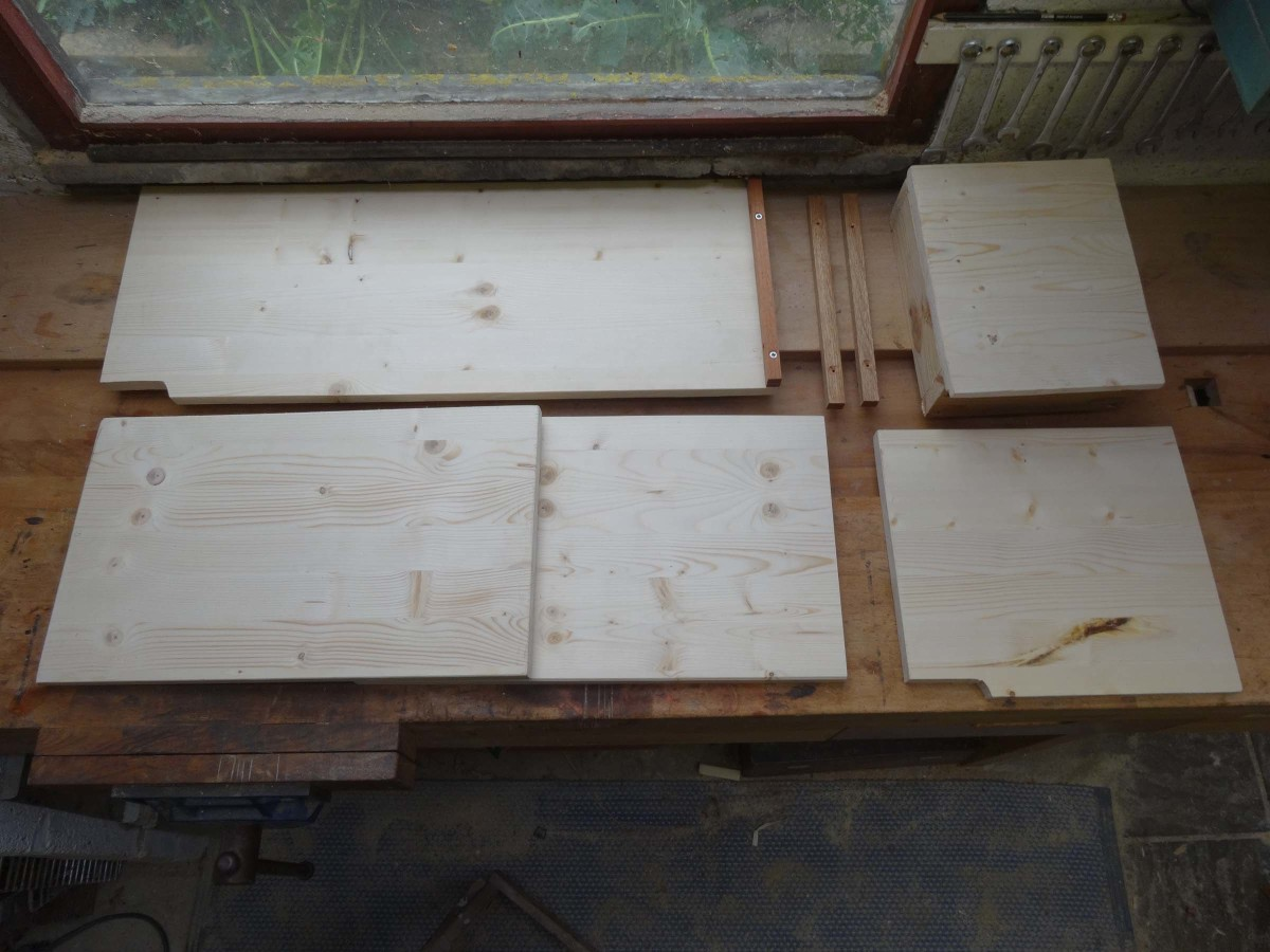 All the pieces of wood for the shelving cut to size and ready for assembling.