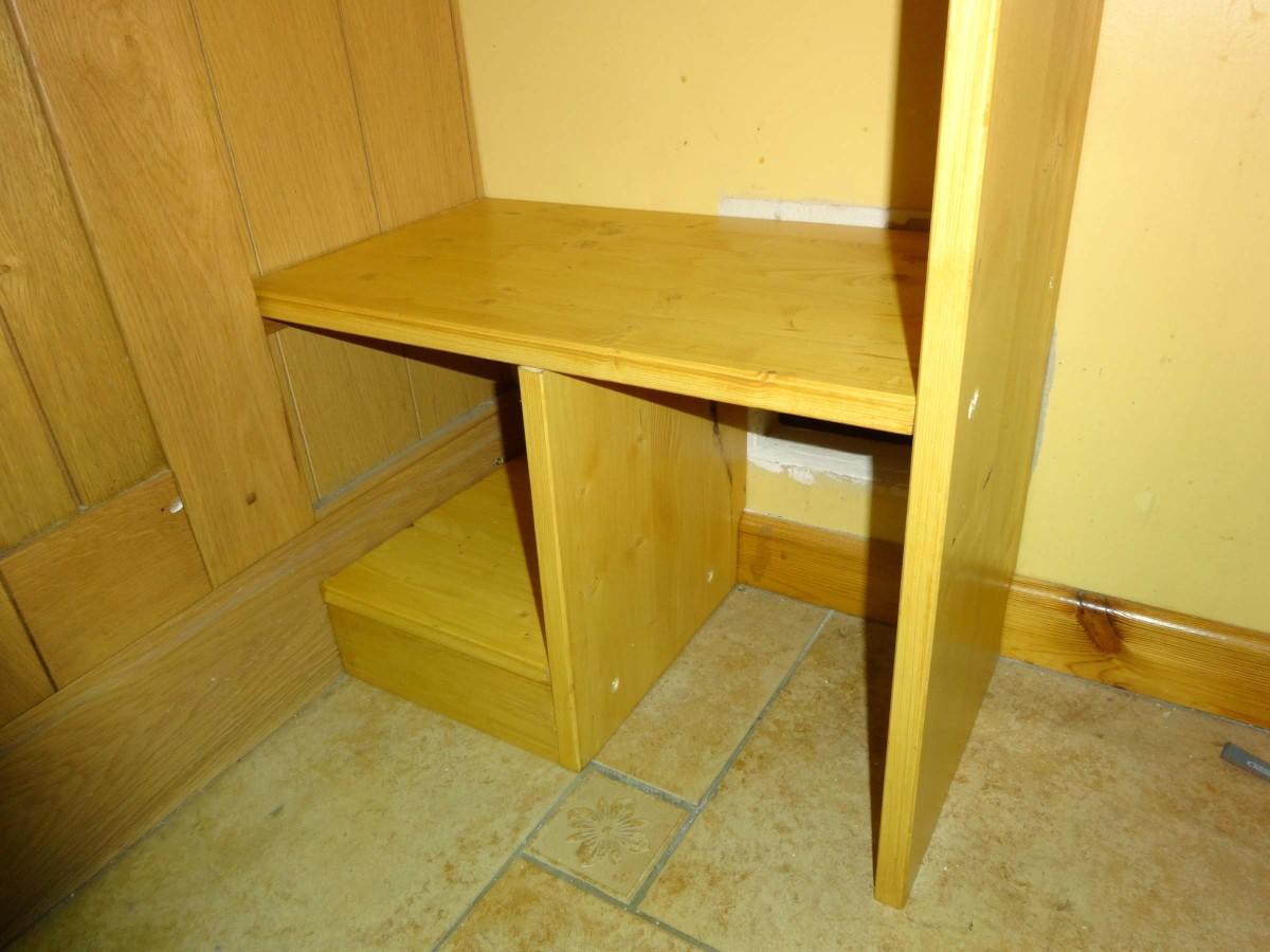 Adding the bottom fixed shelf.