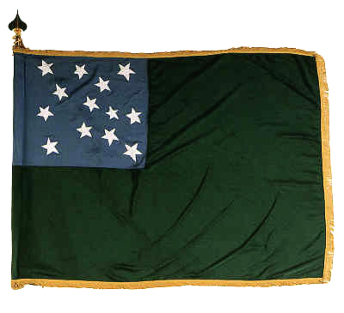 Replica of Green Mountain Boys flag. It is still used by the Vermont National Guard.