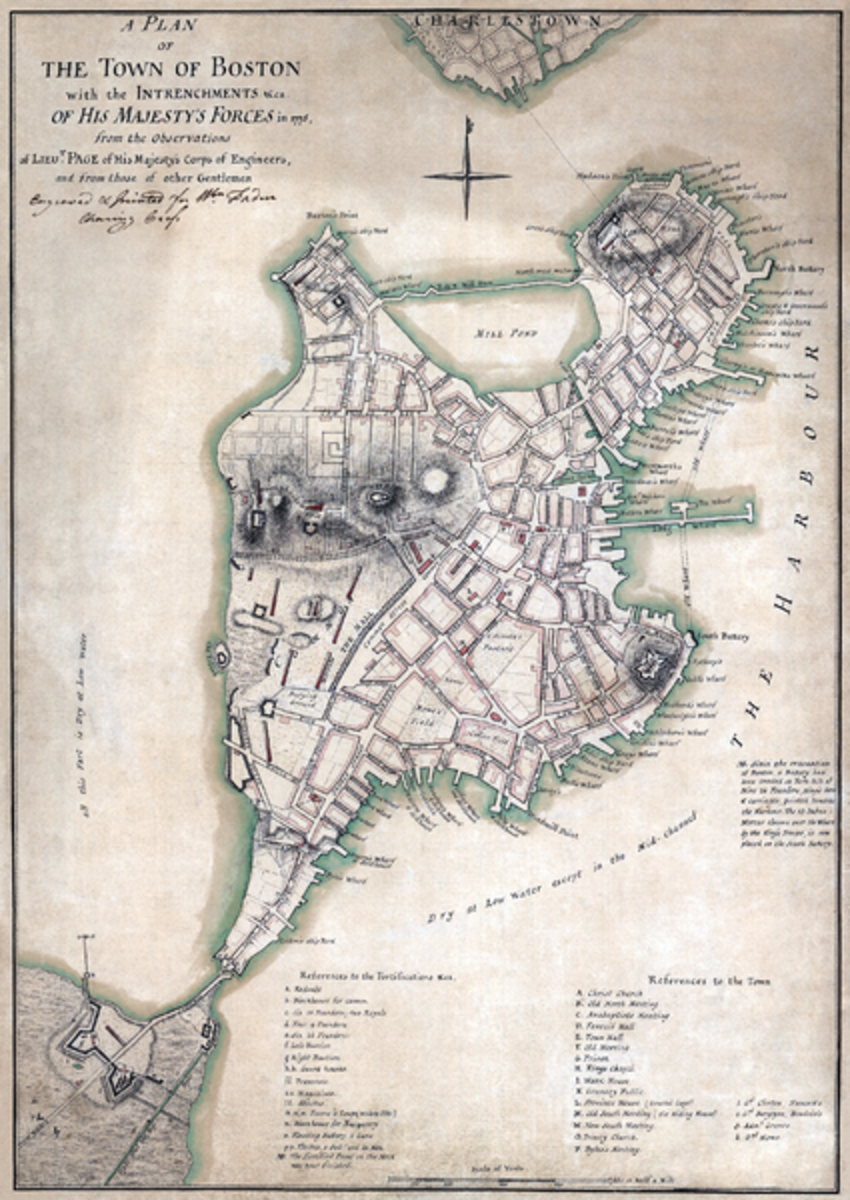 Map of the British defenses in Boston, 1775.