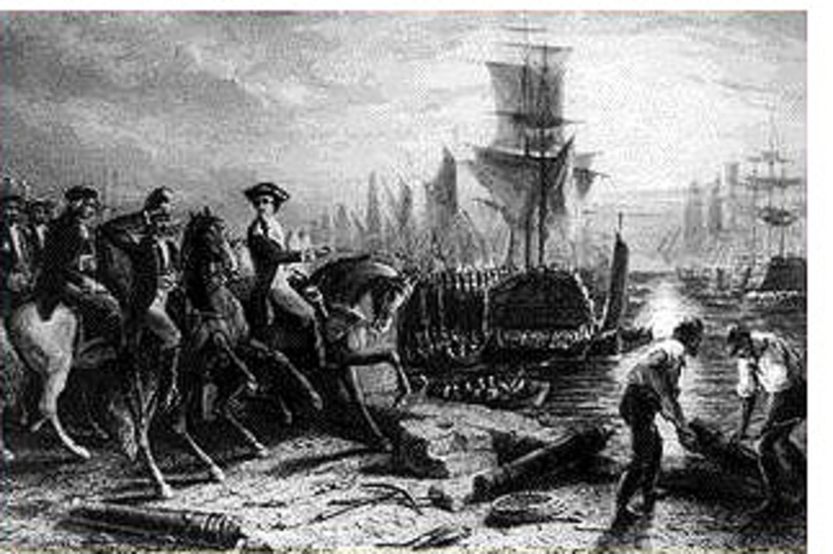 Engraving depicting the British evacuating Boston
