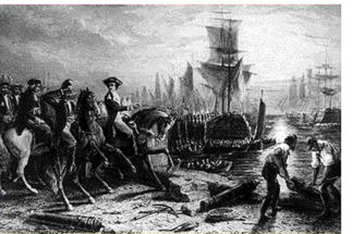 Engraving depicting the British evacuating Boston