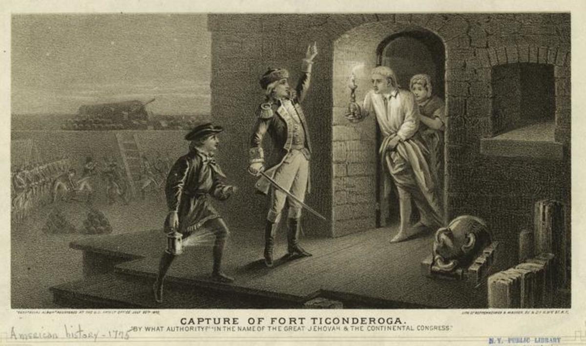 Engraving depicting Ethan Allen demanding the surrender of Fort Ticonderoga