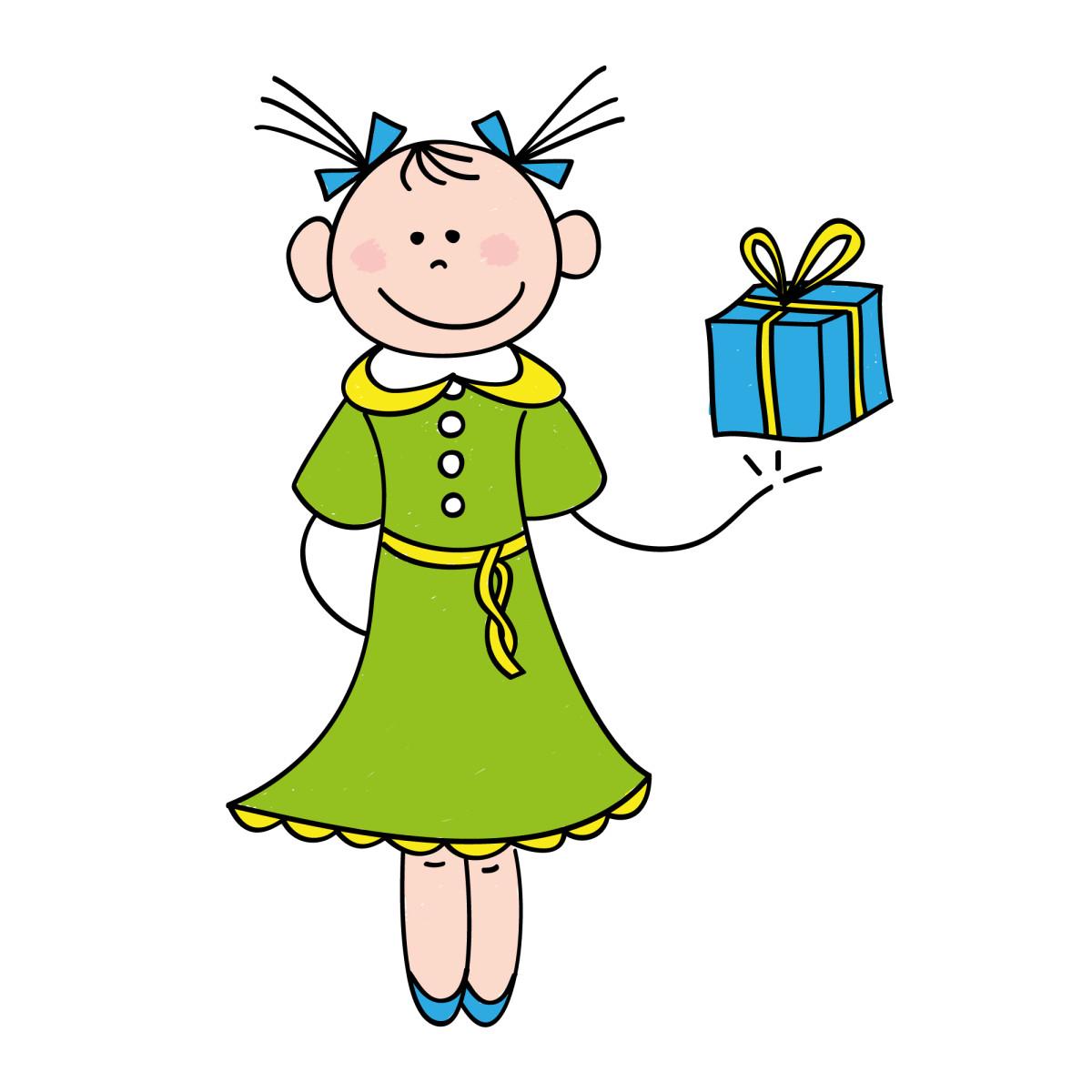 Girl with Birthday Present