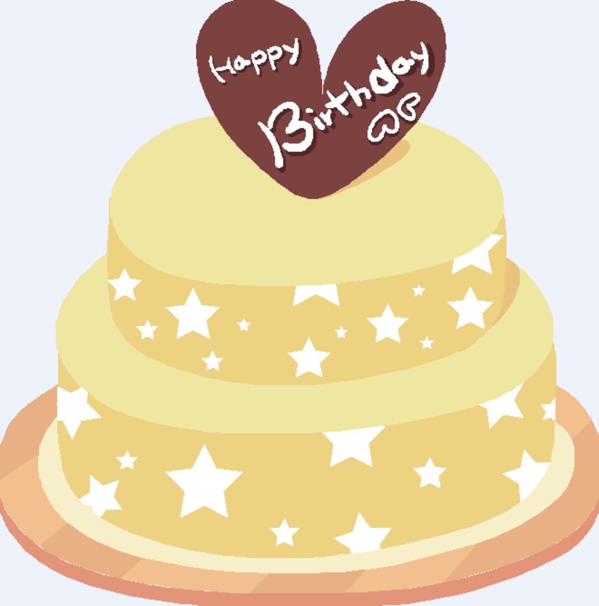 Birthday Cake with Chocolate Heart