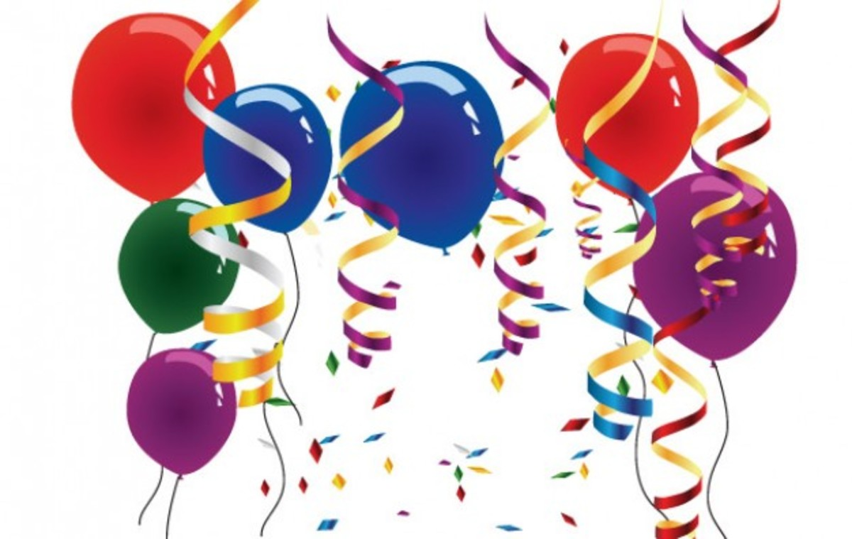 Party Balloons, Streamers and Confetti