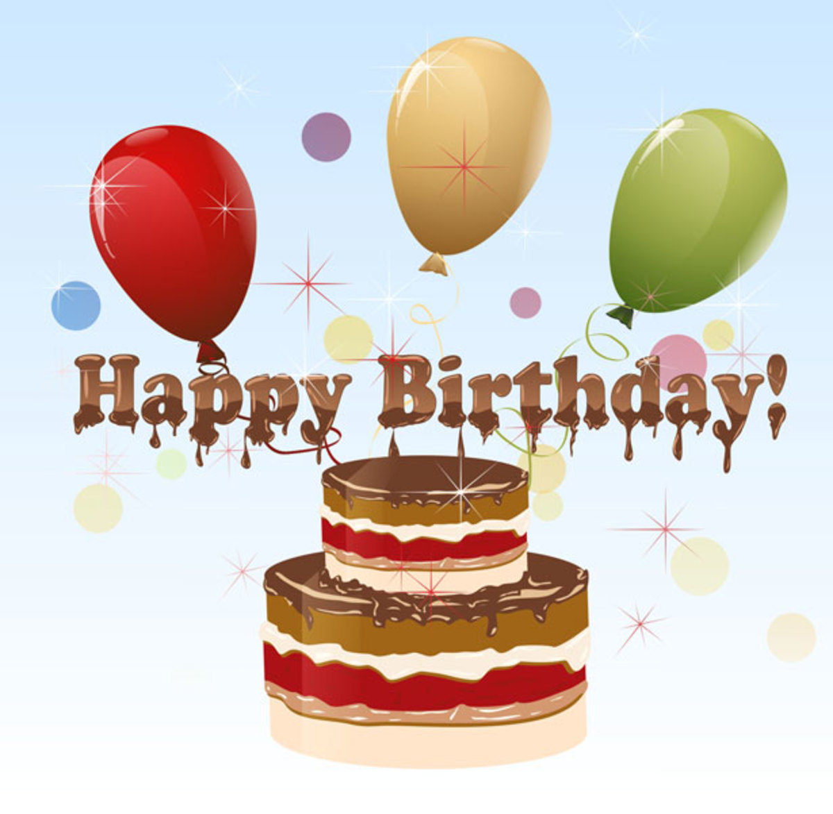 Chocolate Birthday Cake with Balloons Clip Art