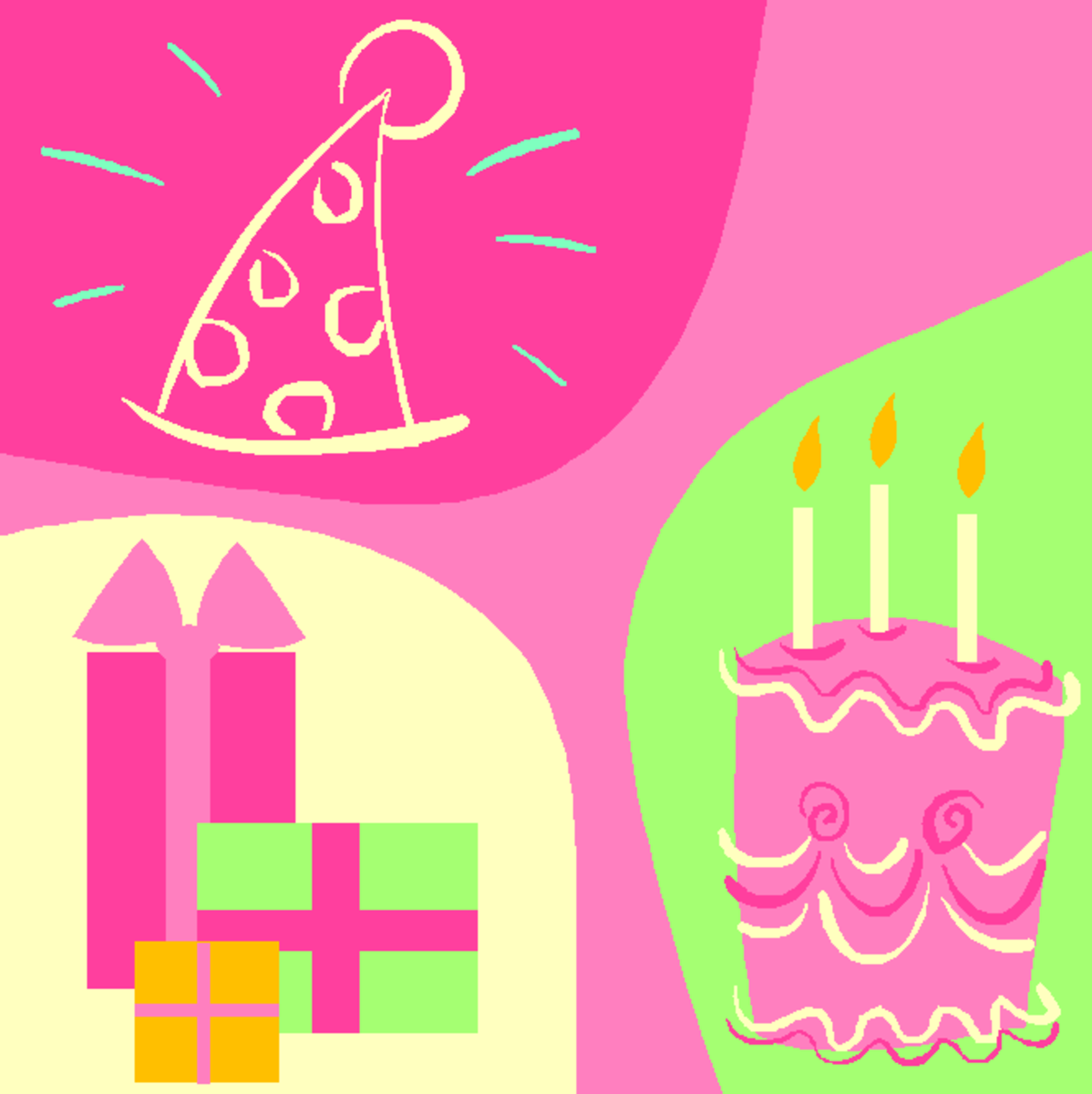 Birthday Cake, Presents and Party Hat