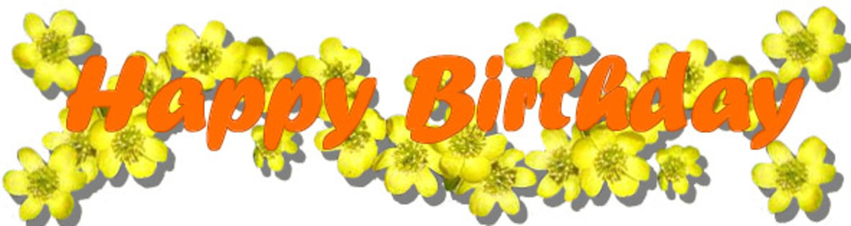Orange Happy Birthday Font with Yellow Flowers
