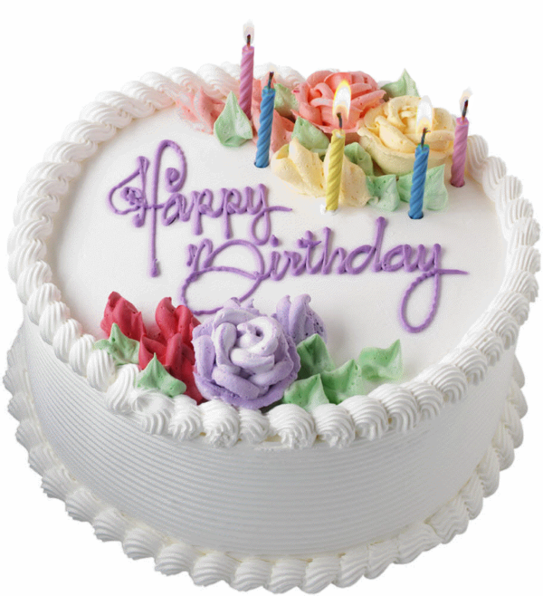Photo of Birthday Cake with Roses Decoration and Candles