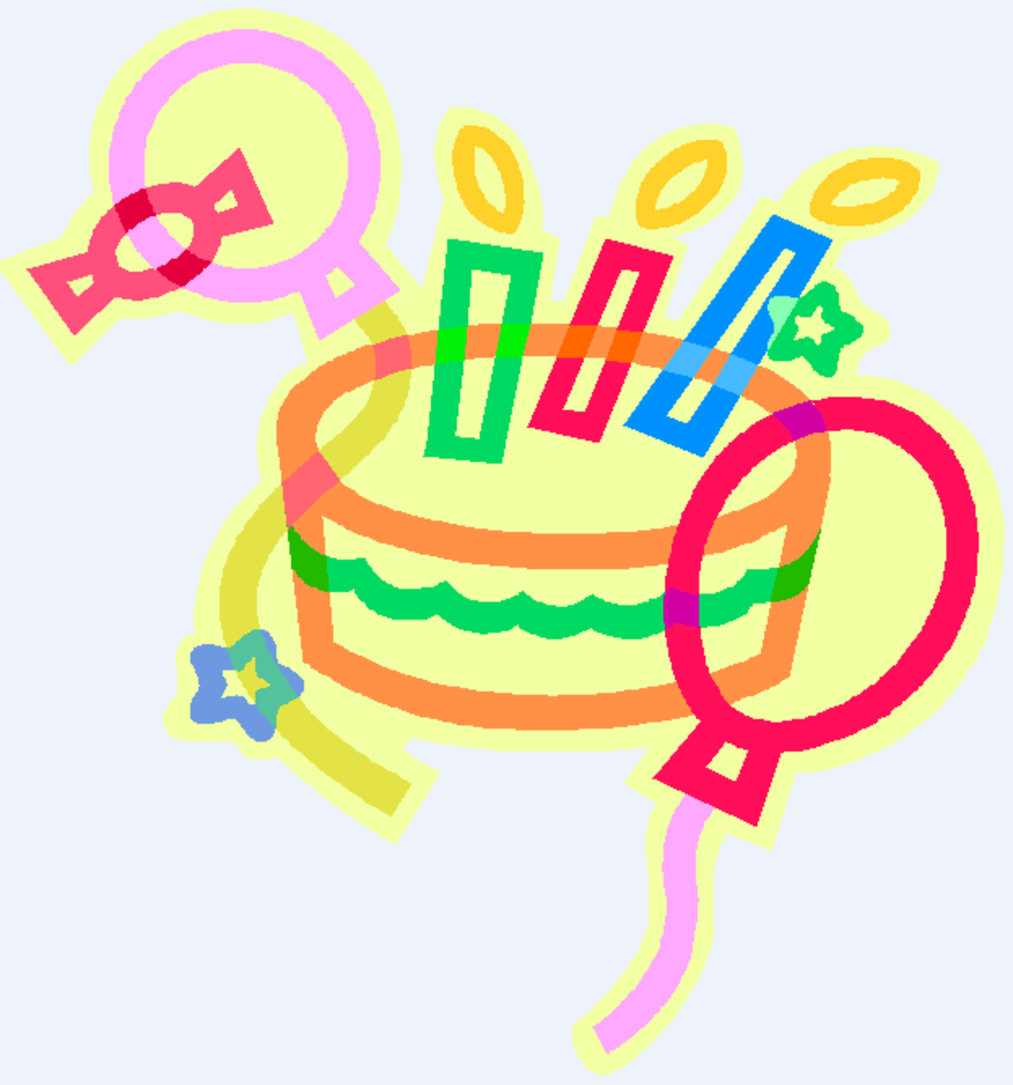 Birthday Cake, Candy and Balloons Clip Art