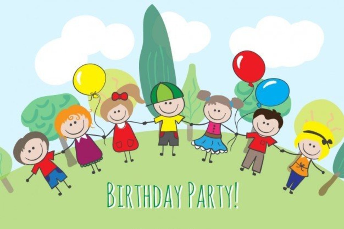 Kids Holding Hands at Birthday Party Graphic