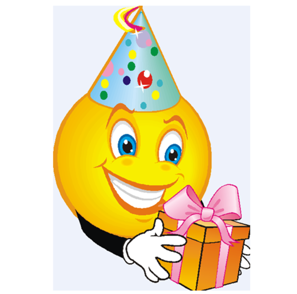 Smiley Face with Party Hat and Gift
