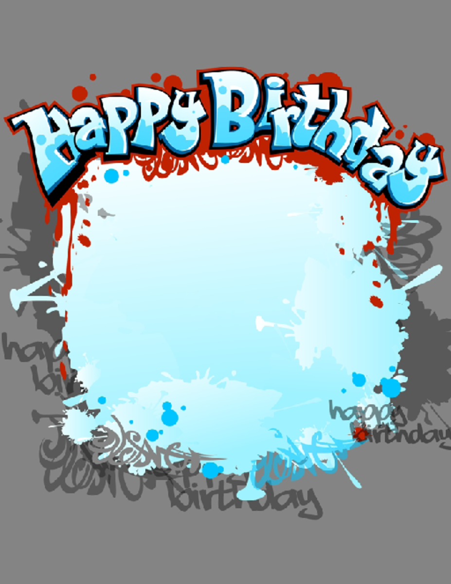 Blue Happy Birthday Party Invitation