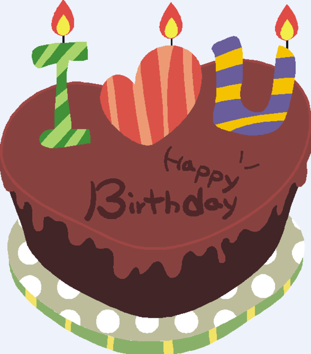 'I  ♥  U' on Chocolate Happy Birthday Cake