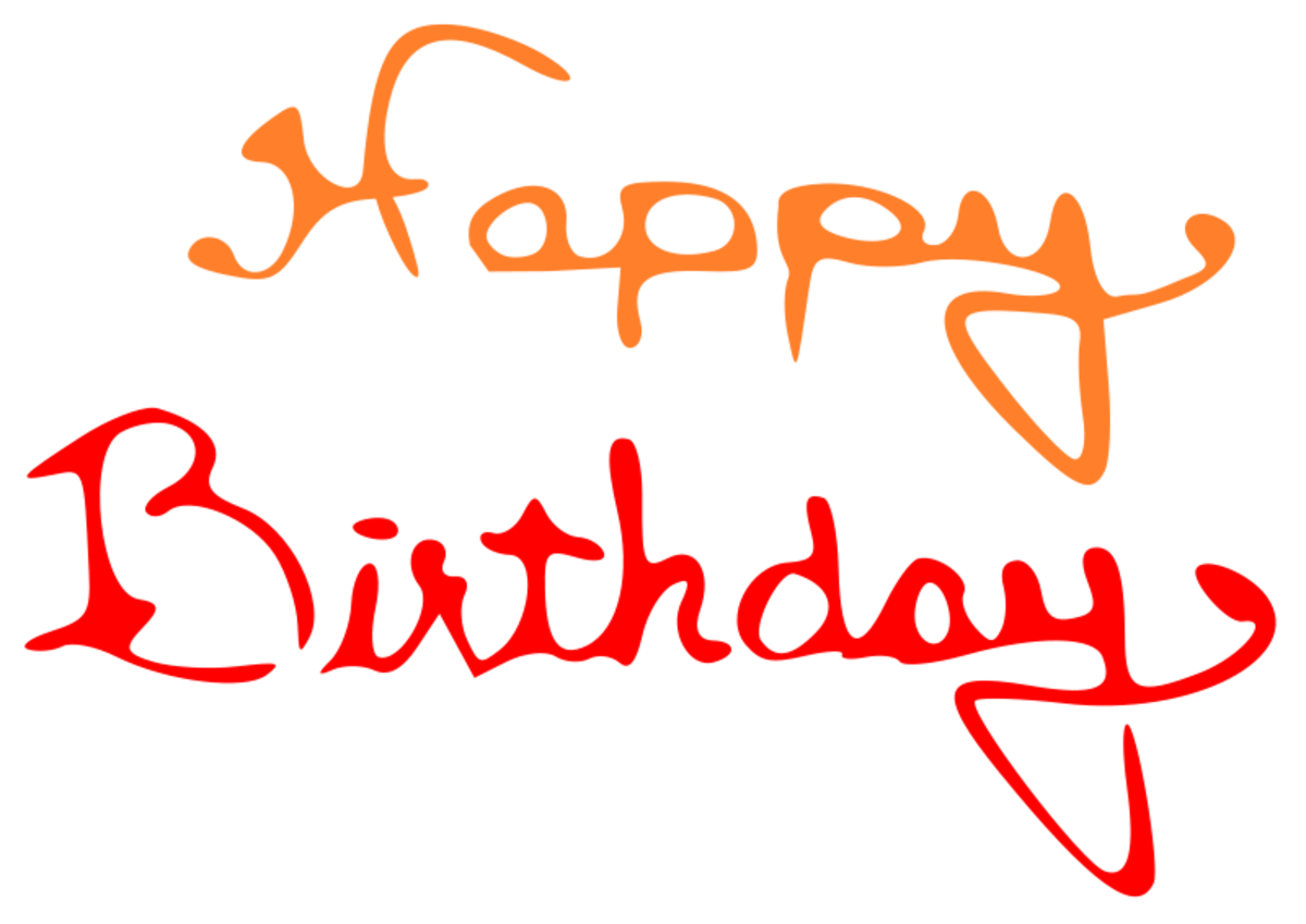 Happy Birthday in Orange and Red Cursive Font