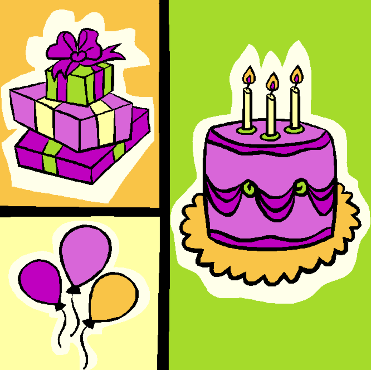 Birthday Cake, Balloons and Gifts Collage