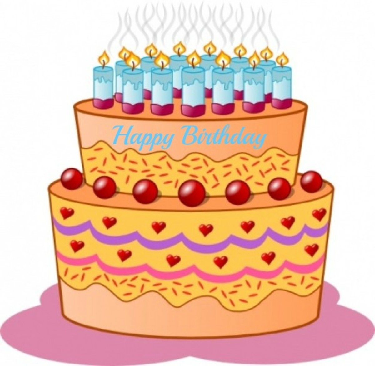 Orange Birthday Cake with Blue Candles