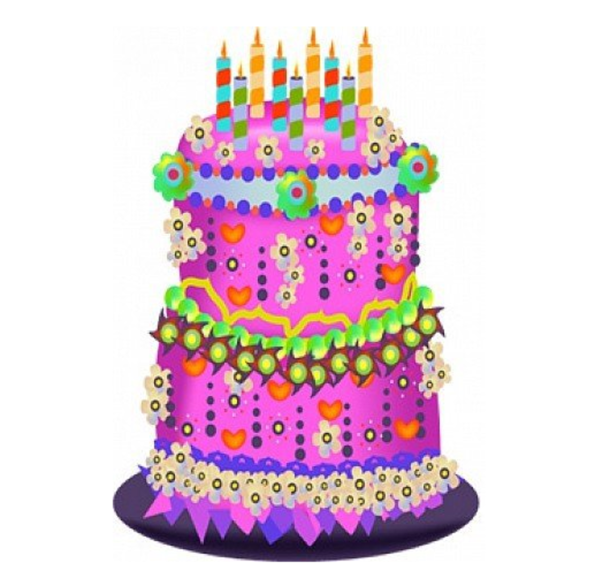 Three-Tier Pink and Purple Birthday Cake