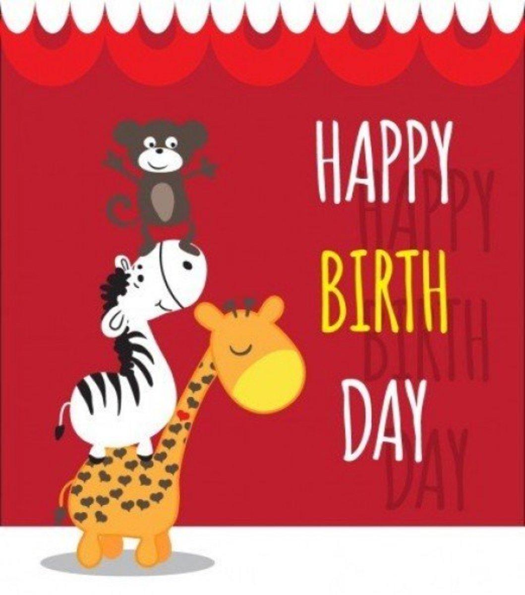 Happy Birthday with Giraffe, Zebra and Monkey