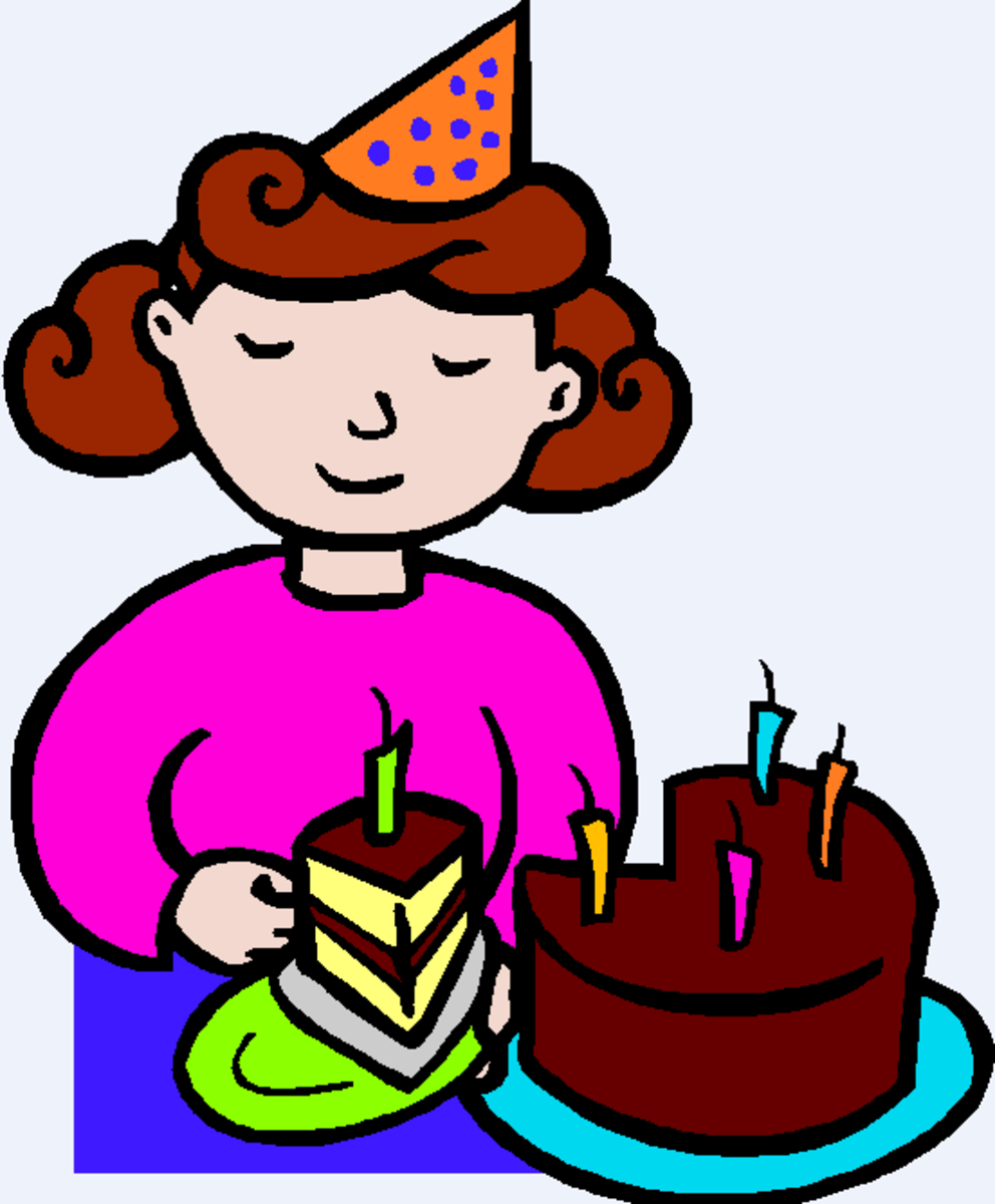Girl in Party Hat Getting Piece of Birthday Cake