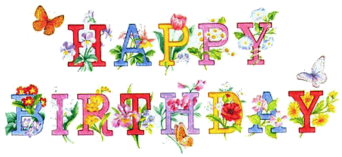 Happy Birthday Graphic Font with Flowers