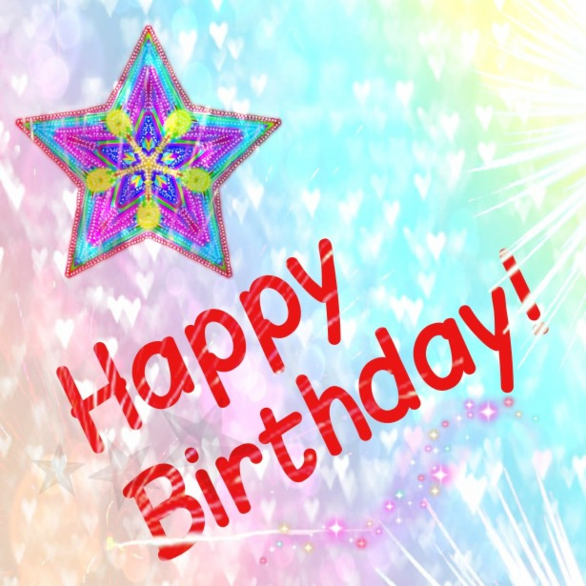 Happy Birthday! with Star, Sunshine and Hearts