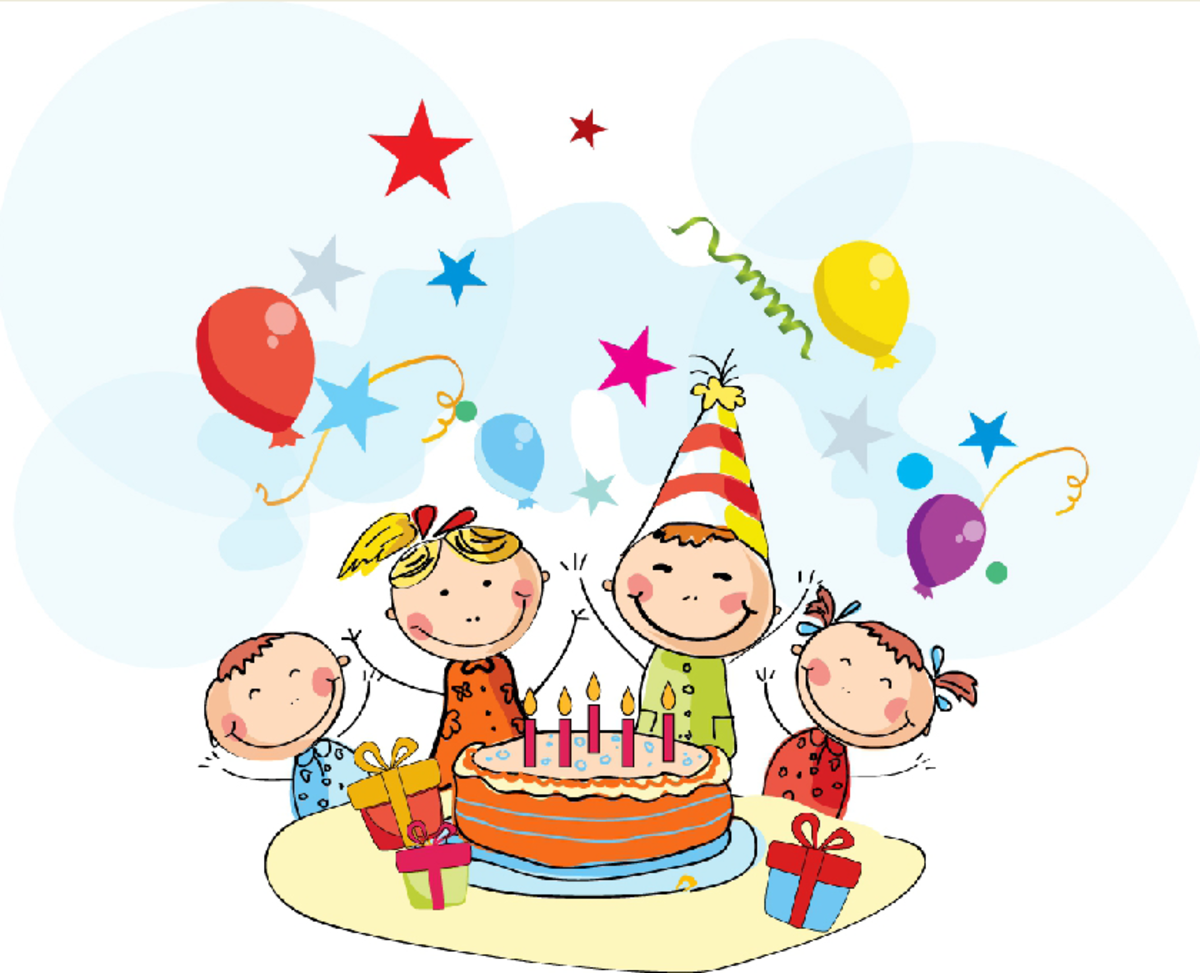 Kids at Birthday Party with Cake and Balloons