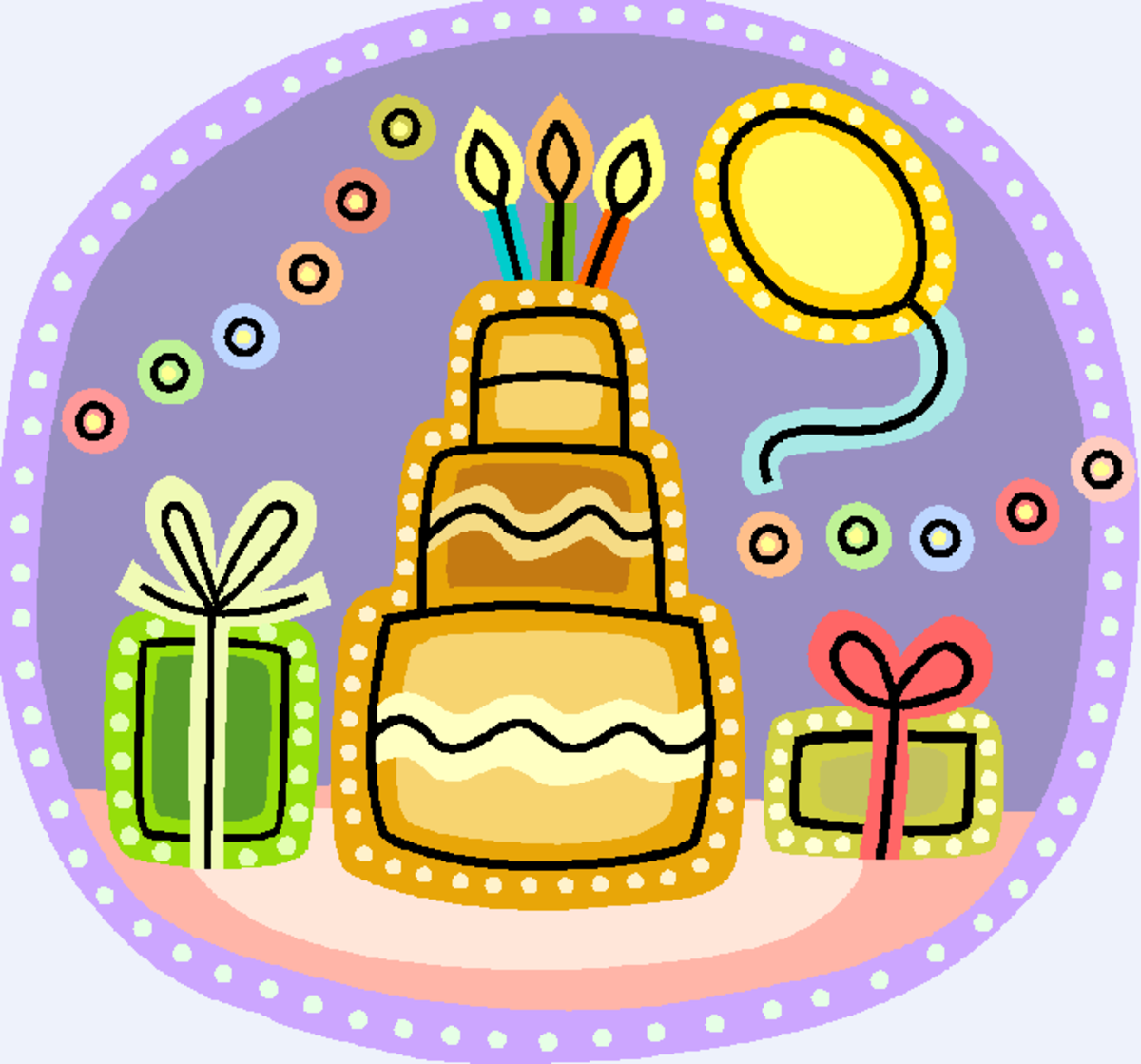 Cake with Candles, Birthday Presents and Balloon