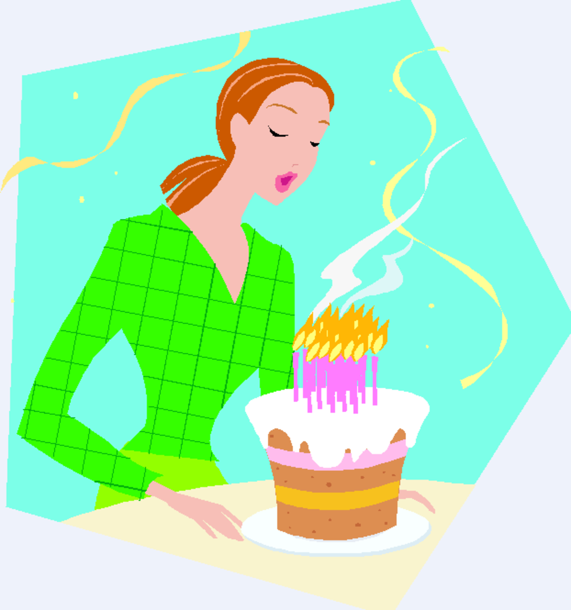 Woman Blowing out Birthday Cake Candles
