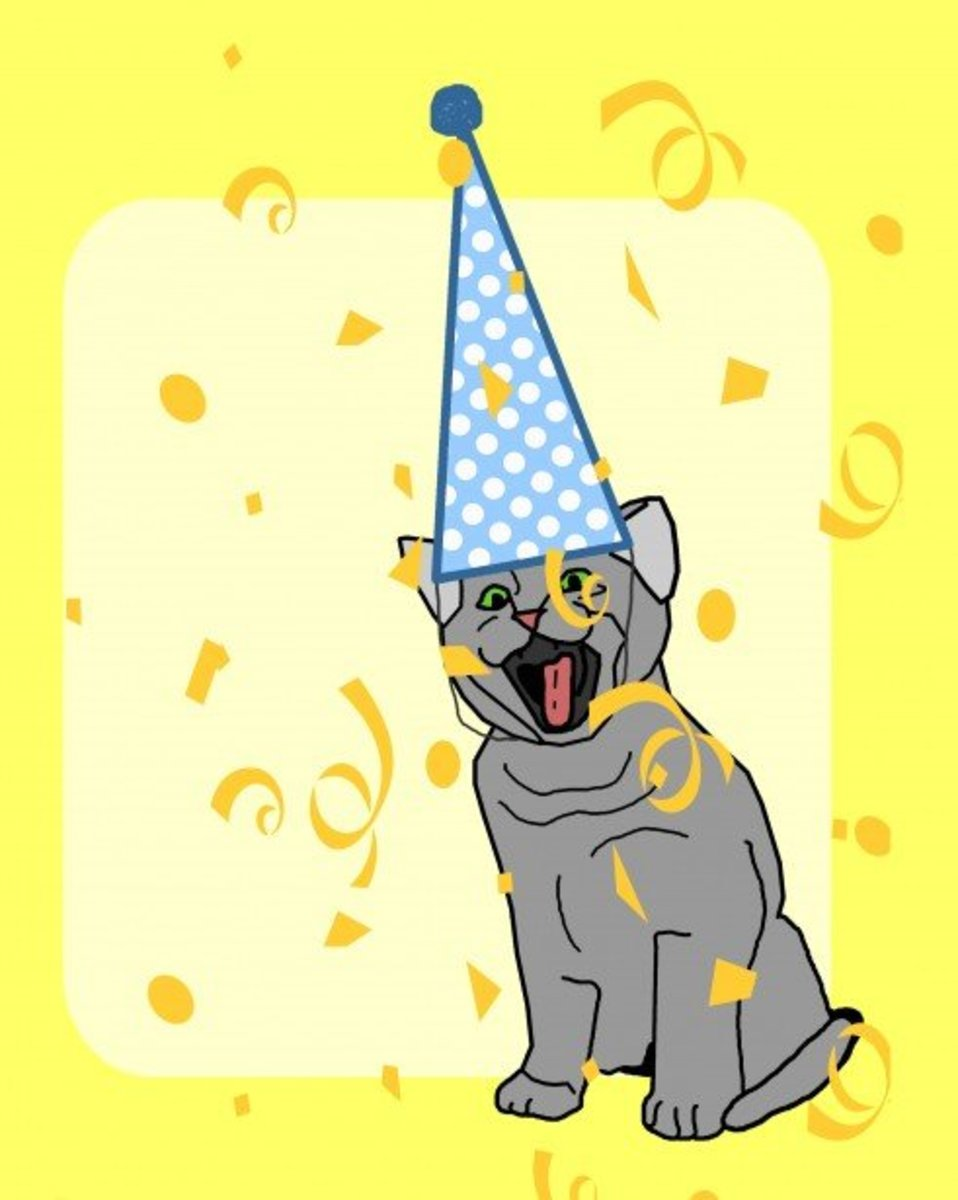 Cat with Party Hat and Confetti
