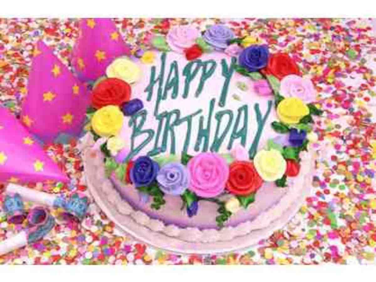 Pink Happy Birthday Cake Photo with Sugar Roses