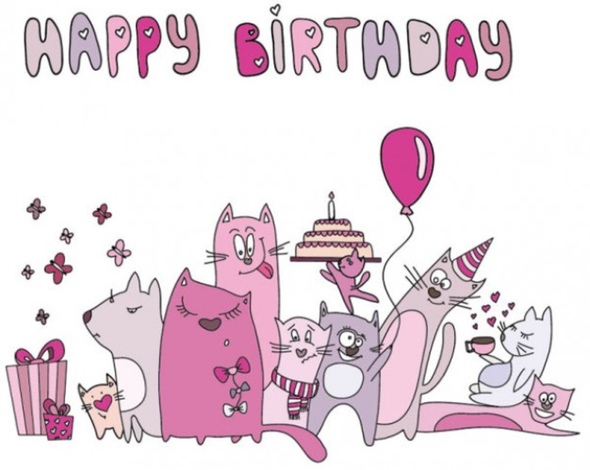 Happy Birthday with Cat Family