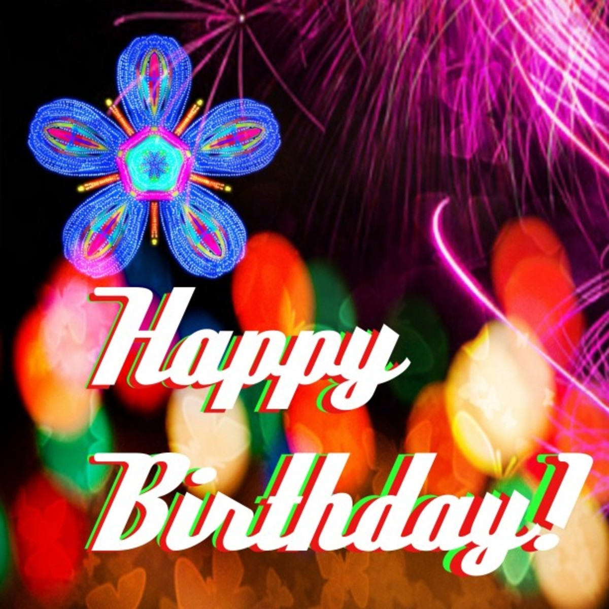 Happy Birthday Clip Art with Flowers and Fireworks