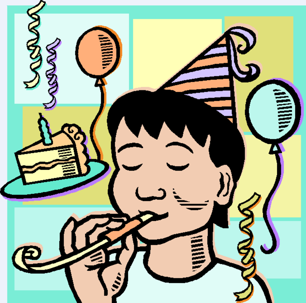 Boy Wearing Party Hat Blowing Noise Maker with Balloons and Piece of Birthday CAke