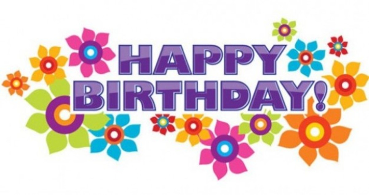 Purple Happy Birthday with Clip Art Flowers