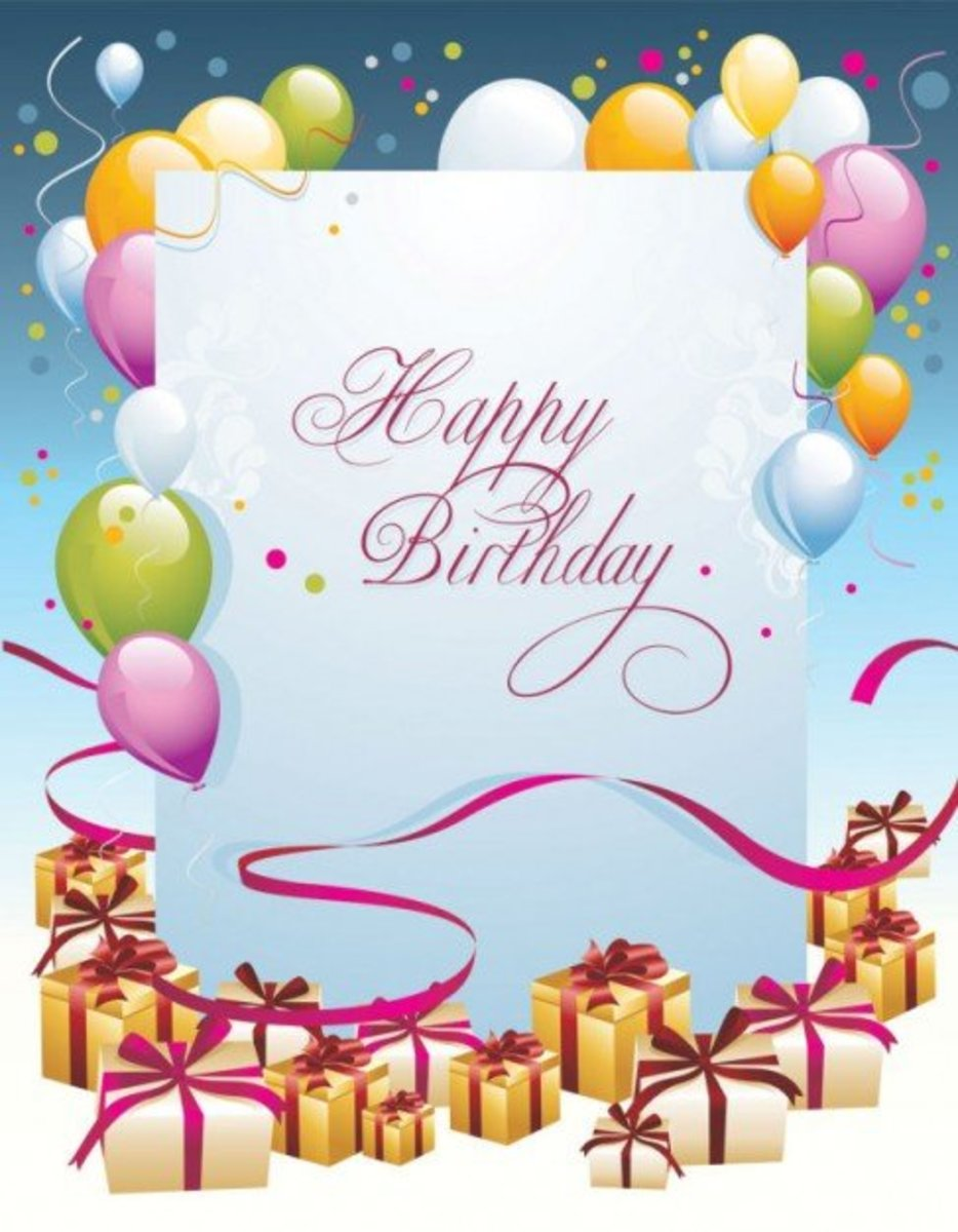 Happy Birthday in Pink Script Font with Presents and Balloons