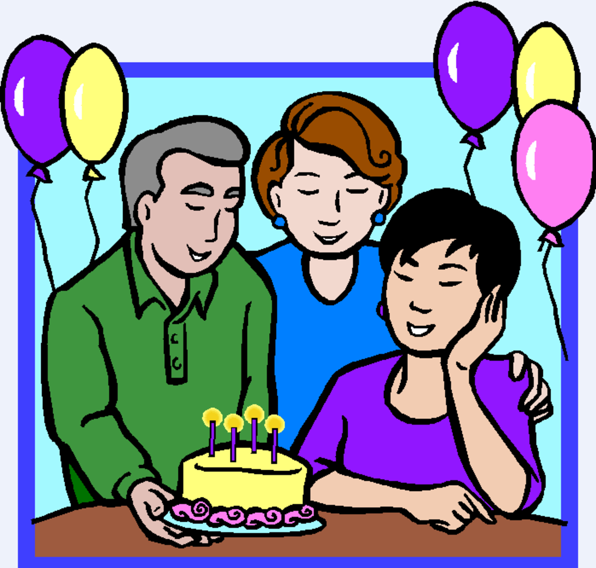 Man and Two Women at Birthday Party