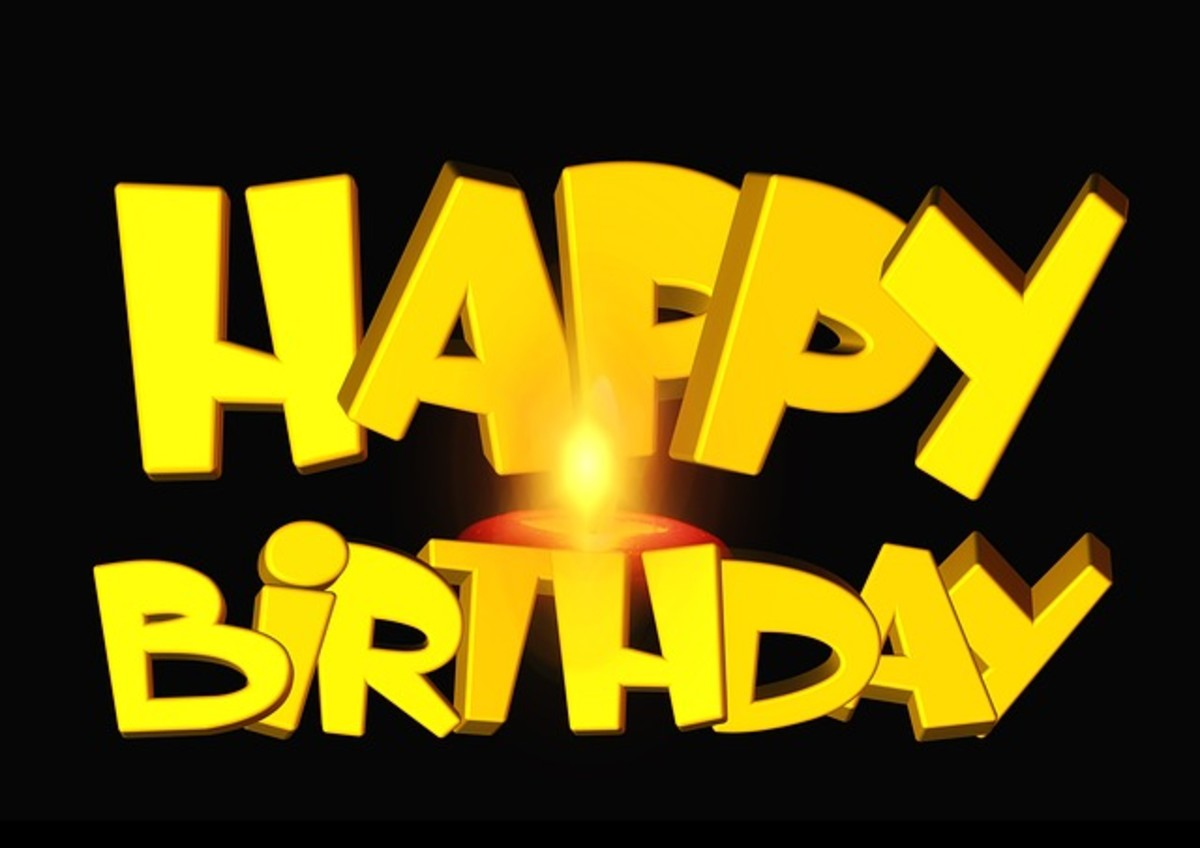 Happy Birthday in Yellow Font with Candle
