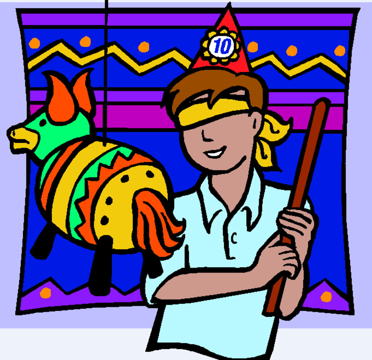Boy Hitting Piñata at Birthday Party
