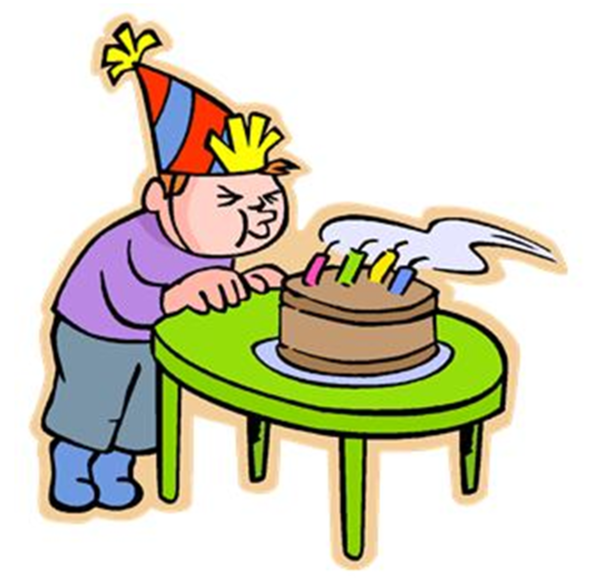Boy in Party Hat Blowing out Birthday Candles on Cake