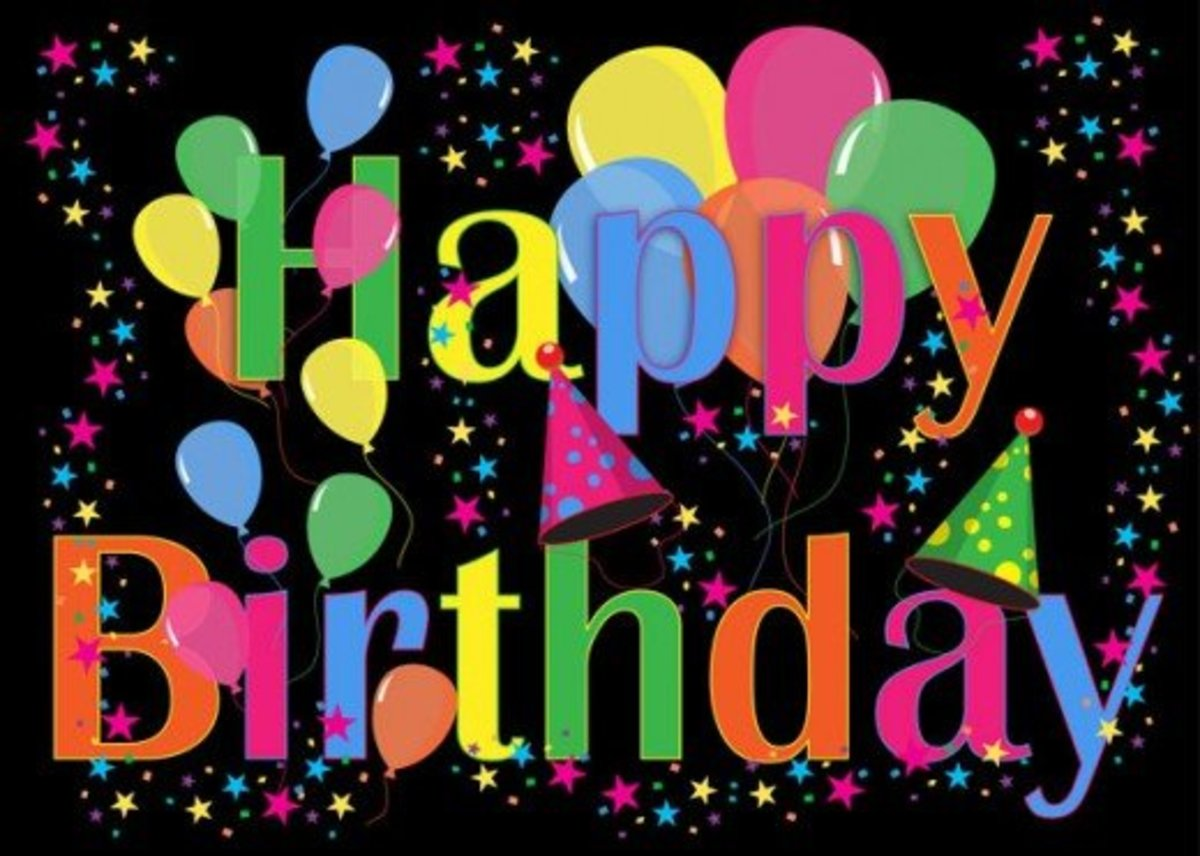Multi-Colored Happy Birthday Font with Balloons and Party Hats