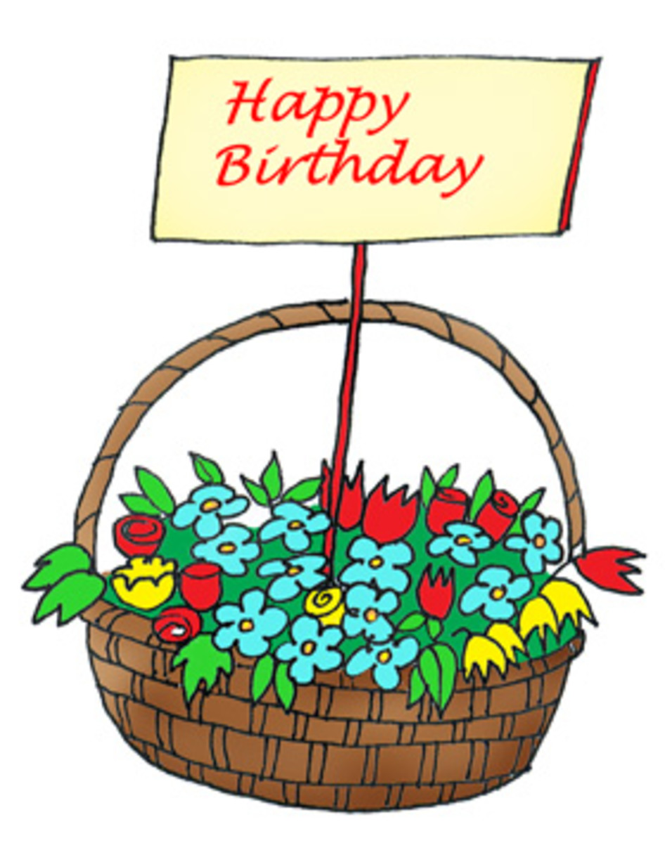 Happy Birthday with Basket of Flowers