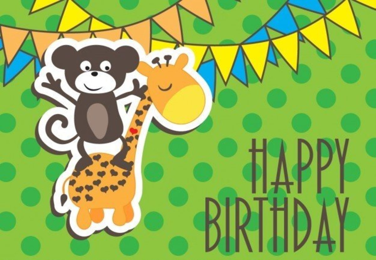 Happy Birthday with Monkey and Giraffe