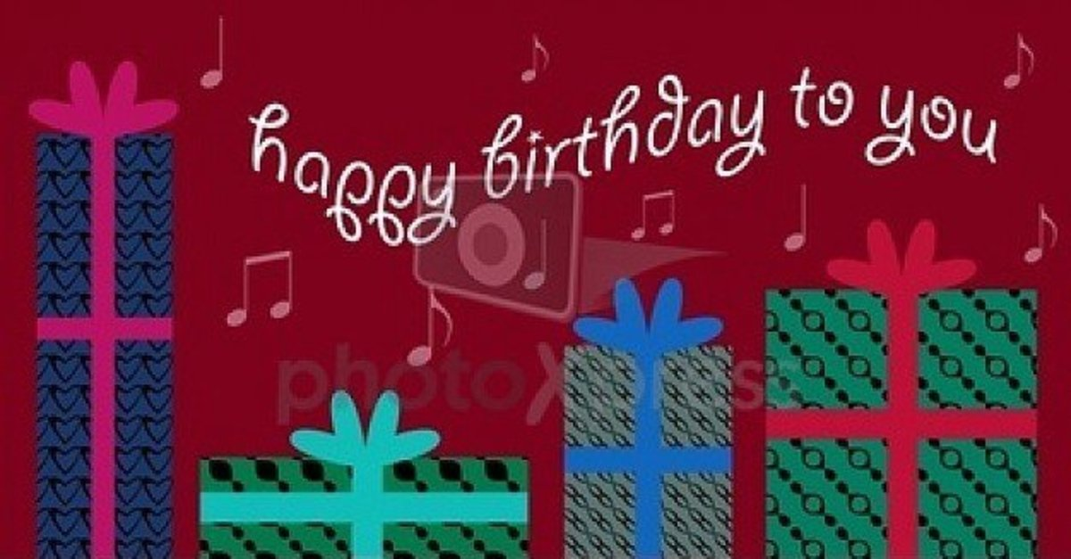 'Happy Birthday to You' with Presents and Musical Notes