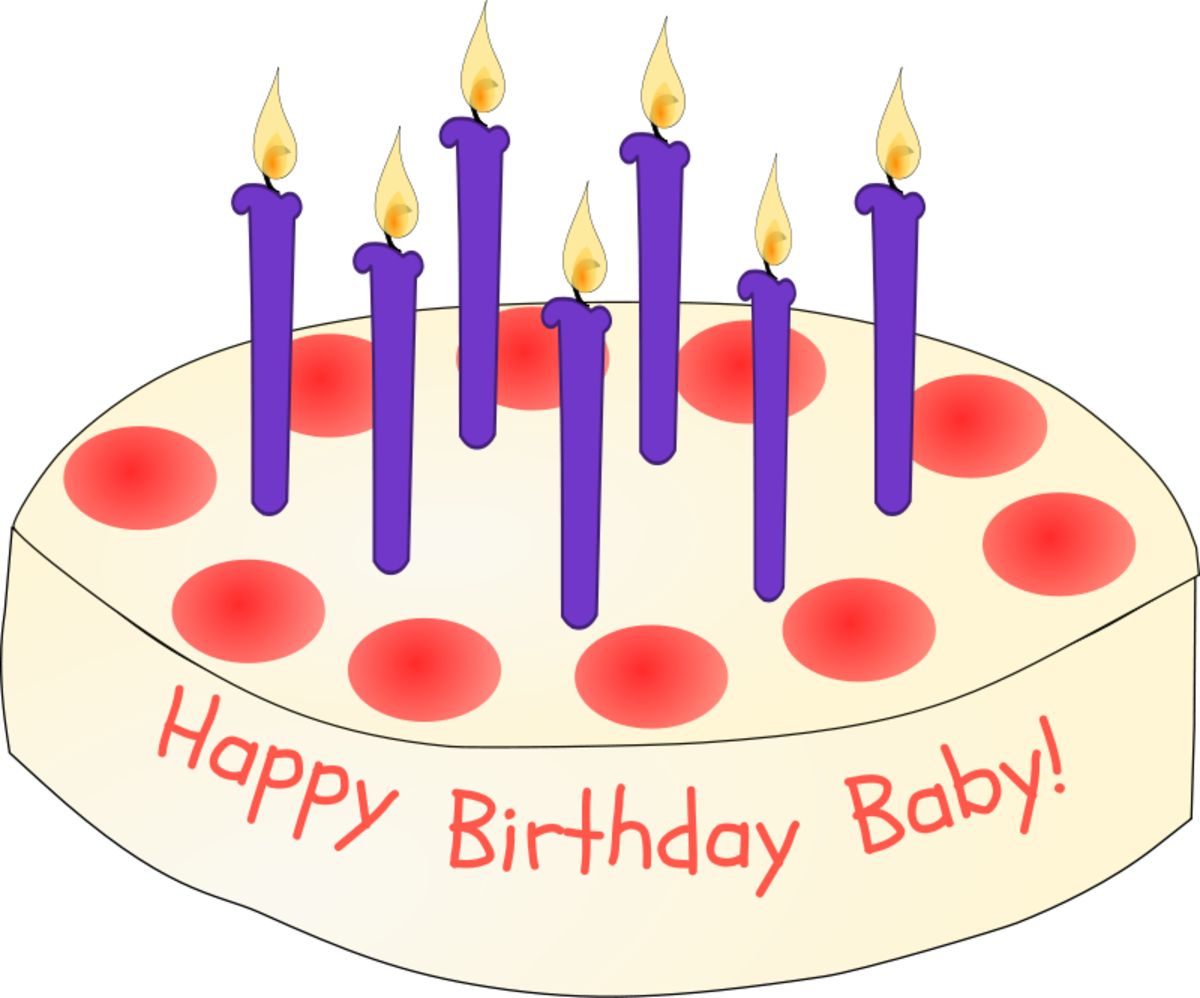 Birthday Cake with Red Decoration and Purple Candles