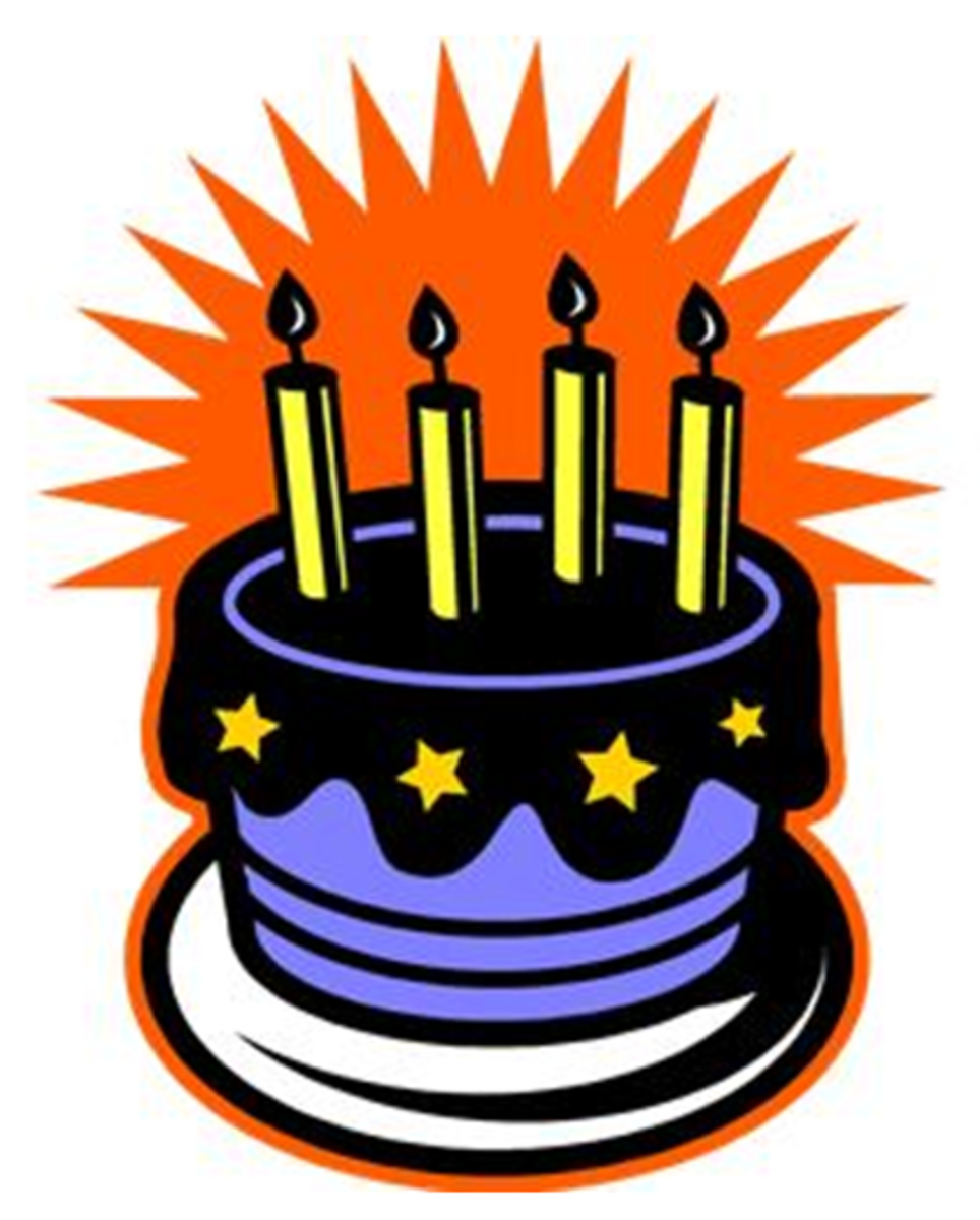 Blue Birthday Cake with Stars and Candles