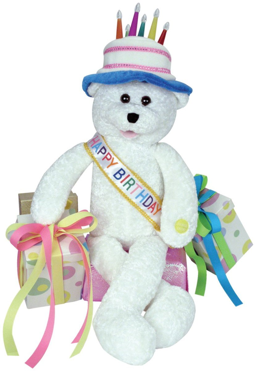 Singing Birthday Teddy Bear with Cake and Presents