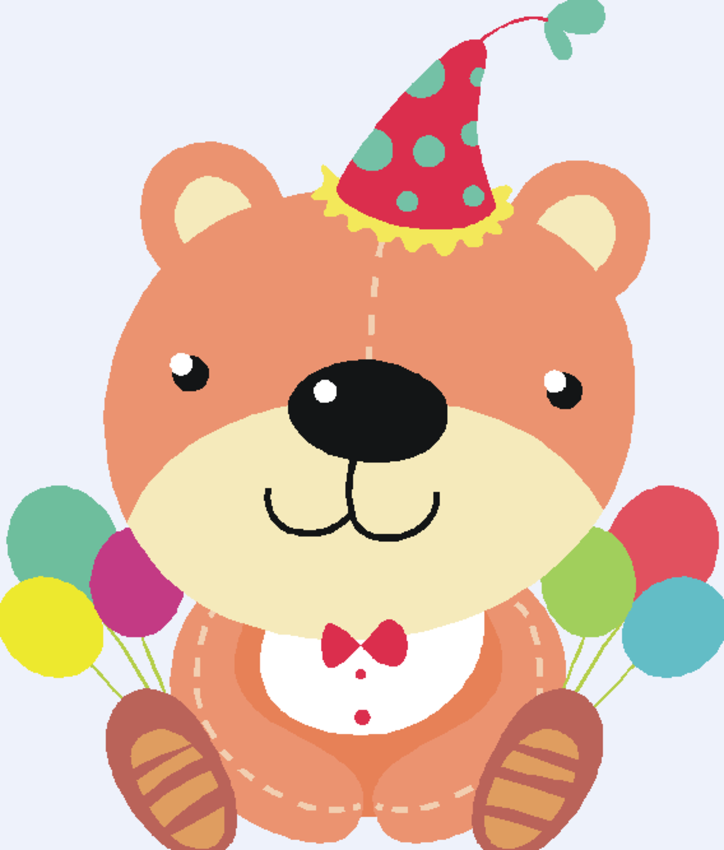 Birthday Teddy Bear with Party Hat and Balloons Clip Art